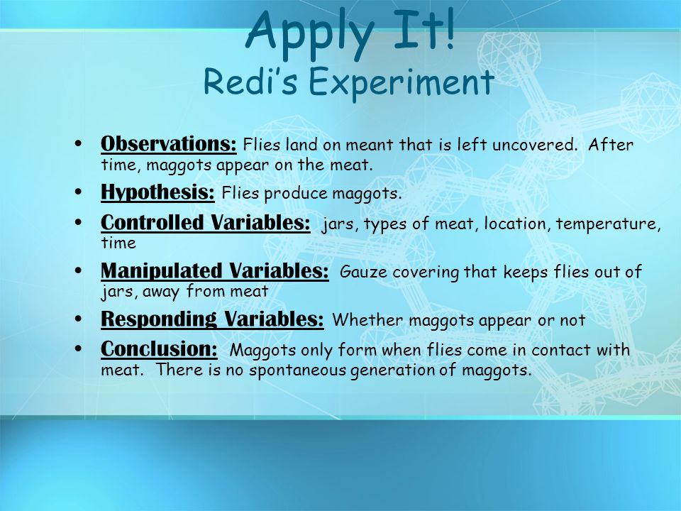 Apply It! Redi's Experiment
