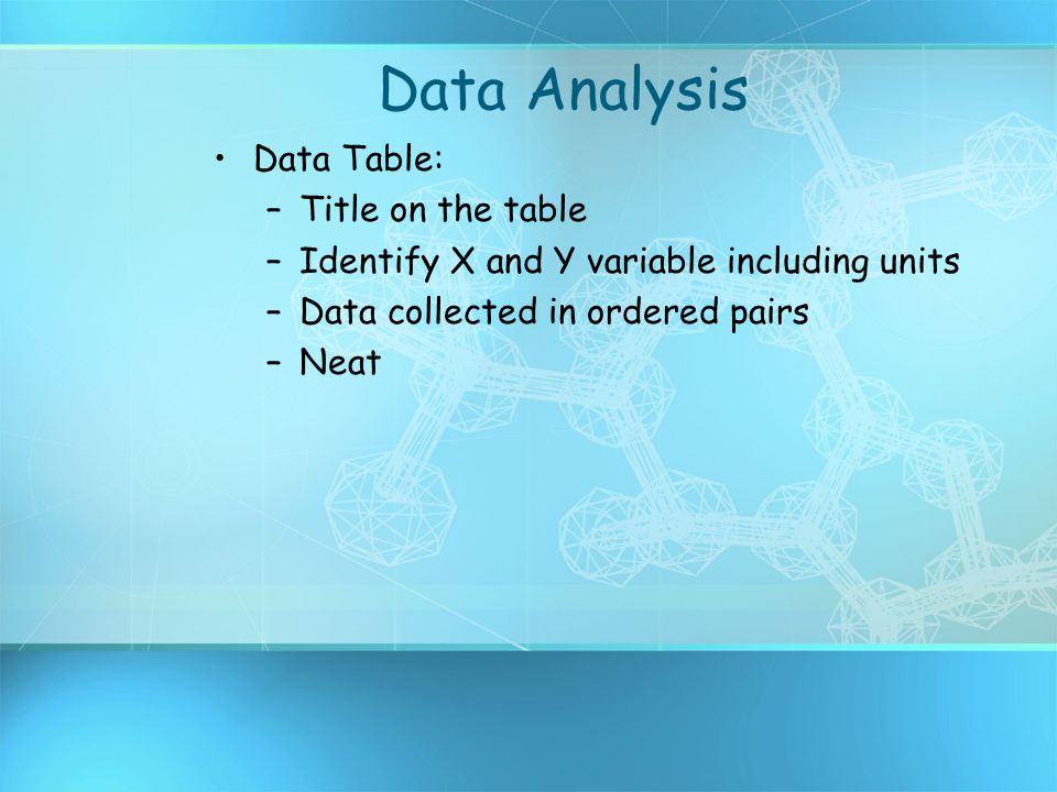 Data Analysis Data Table: Title on the table