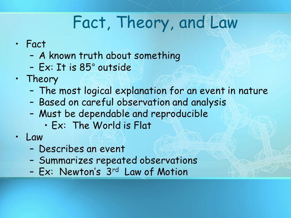 Fact, Theory, and Law Fact A known truth about something