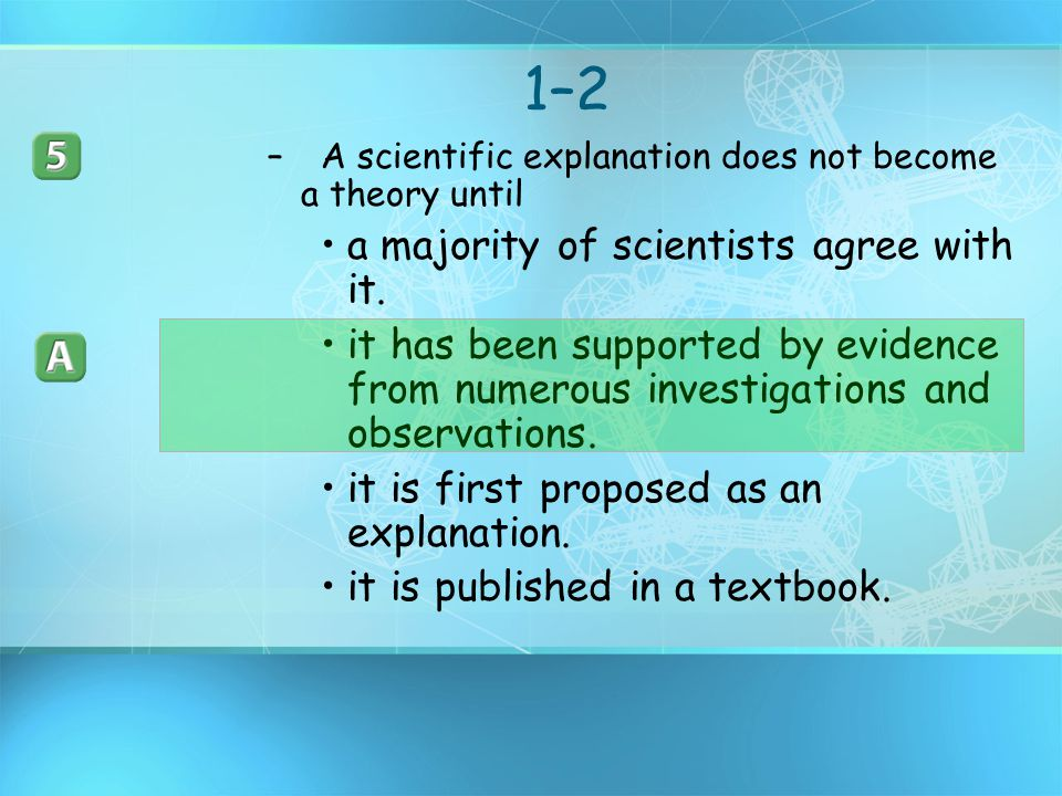 1–2 a majority of scientists agree with it.