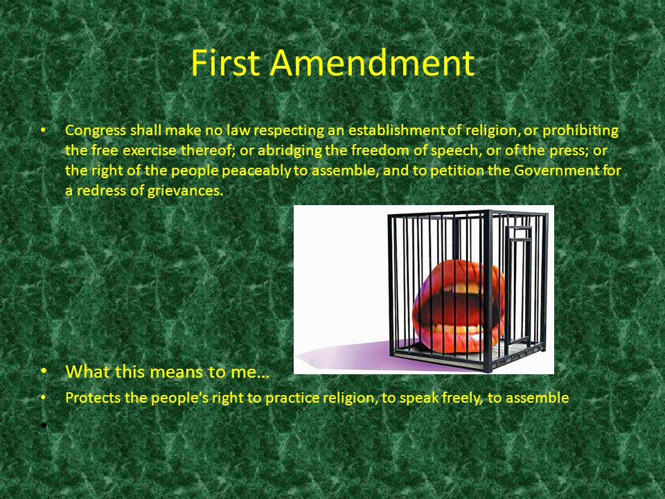 First Amendment What this means to me…