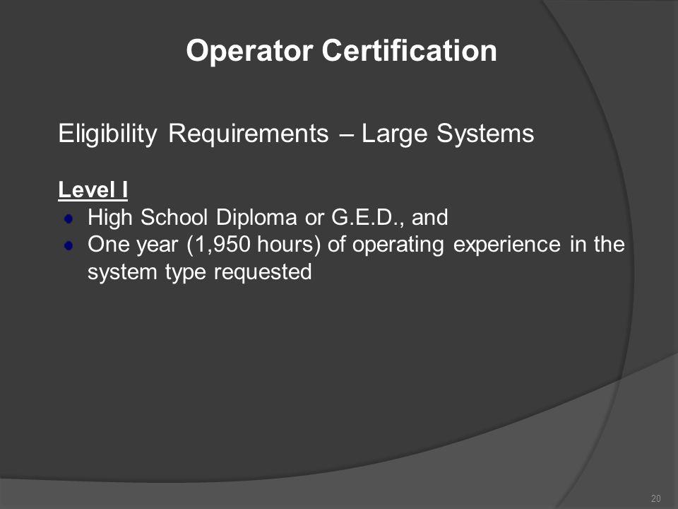 Operator Certification