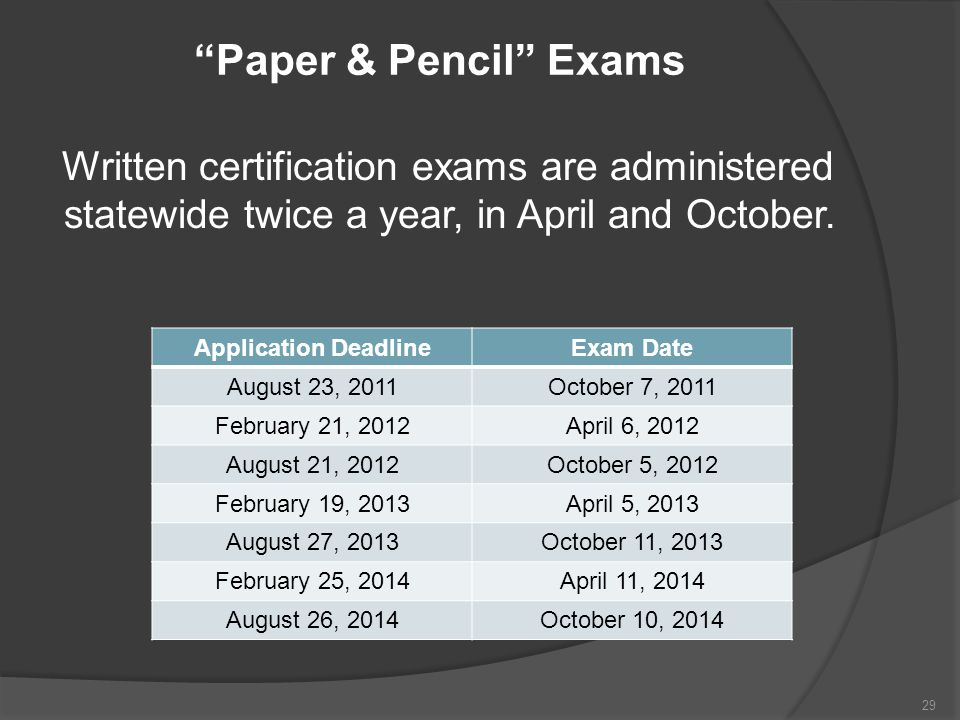 Paper & Pencil Exams Written certification exams are administered statewide twice a year, in April and October.