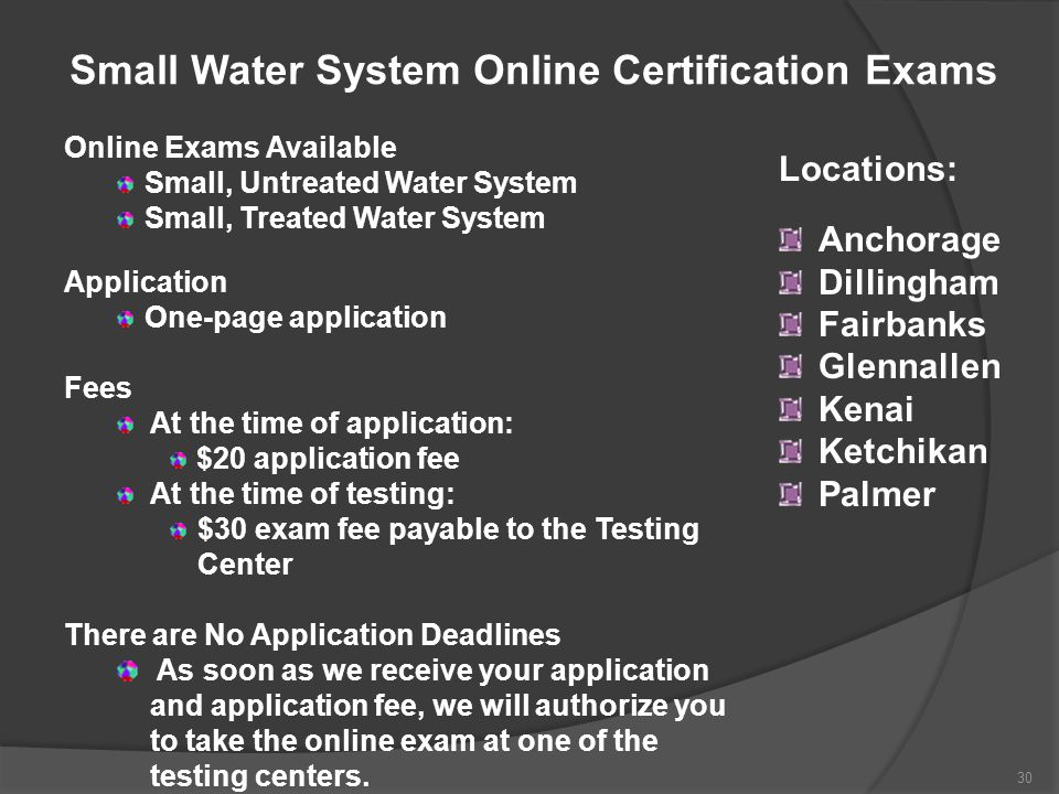 Small Water System Online Certification Exams