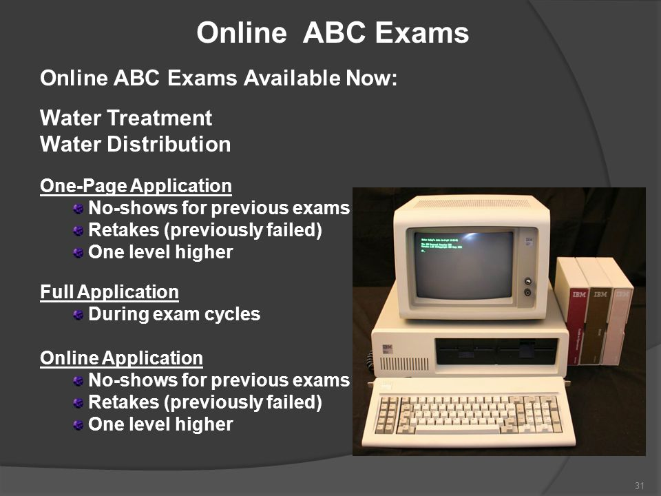 Online ABC Exams Online ABC Exams Available Now: Water Treatment