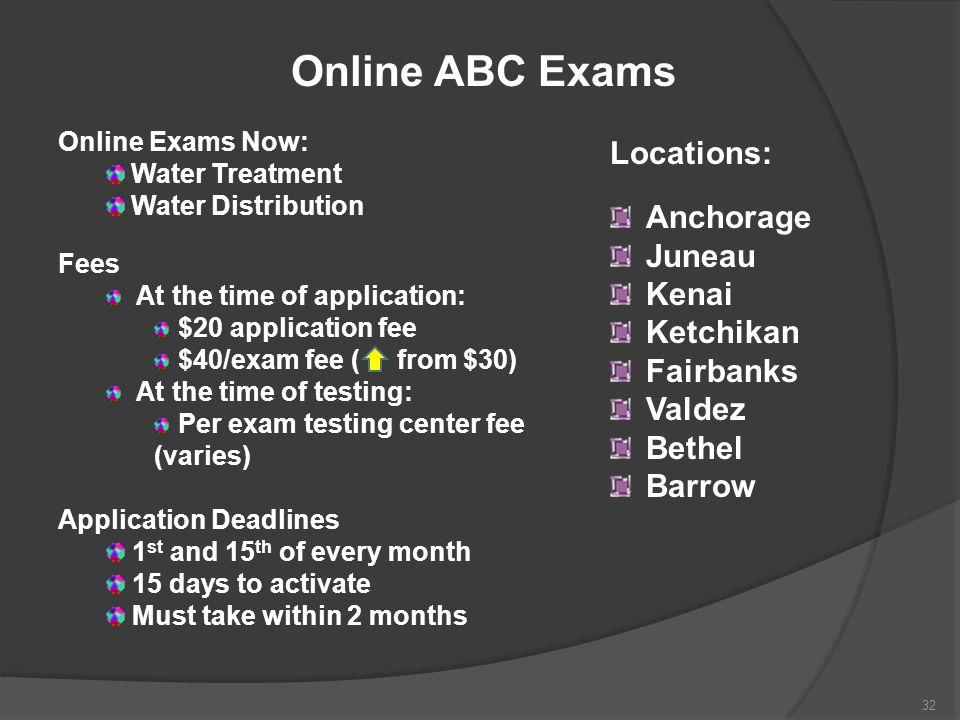 Online ABC Exams Locations: Anchorage Juneau Kenai Ketchikan Fairbanks