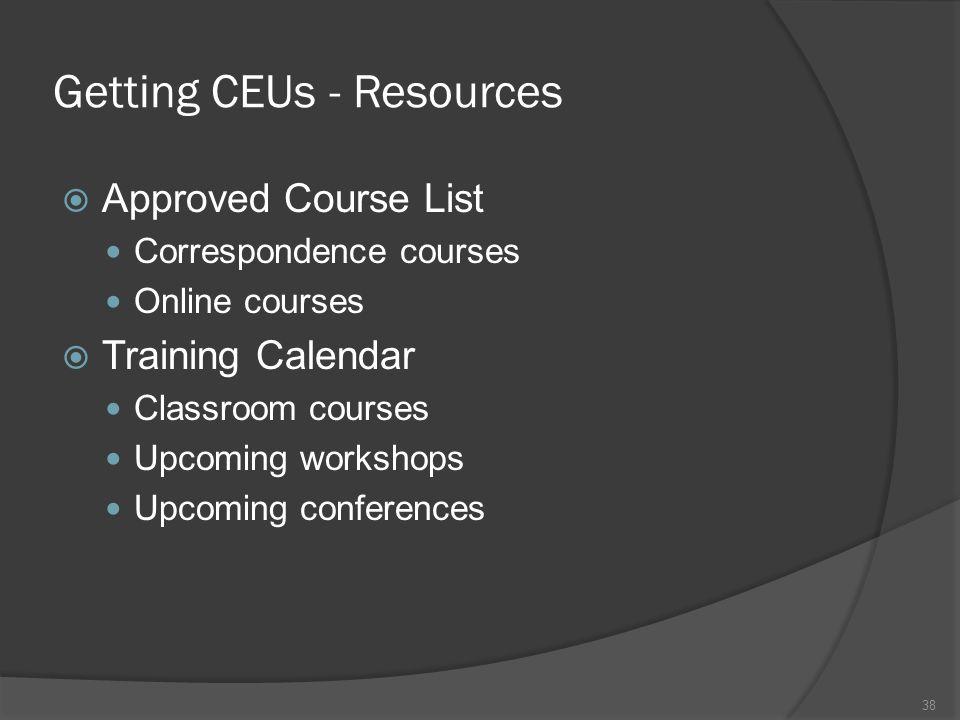 Getting CEUs - Resources