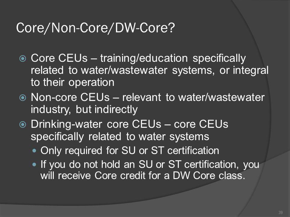 Core/Non-Core/DW-Core