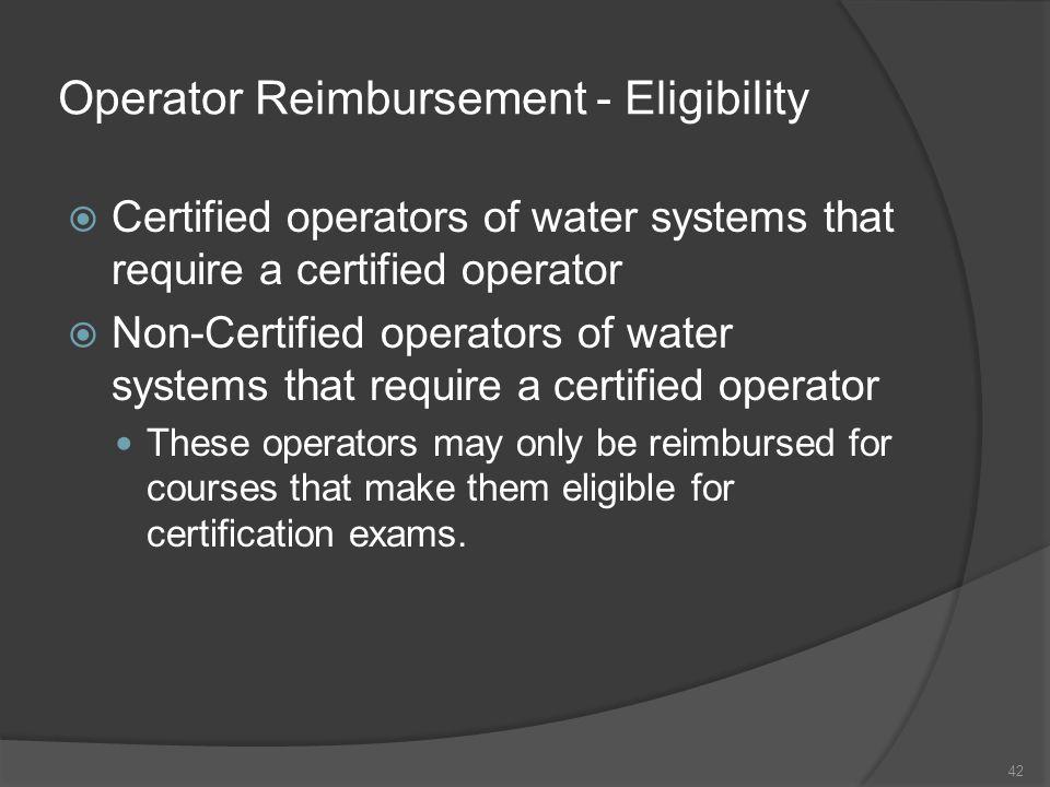 Operator Reimbursement - Eligibility