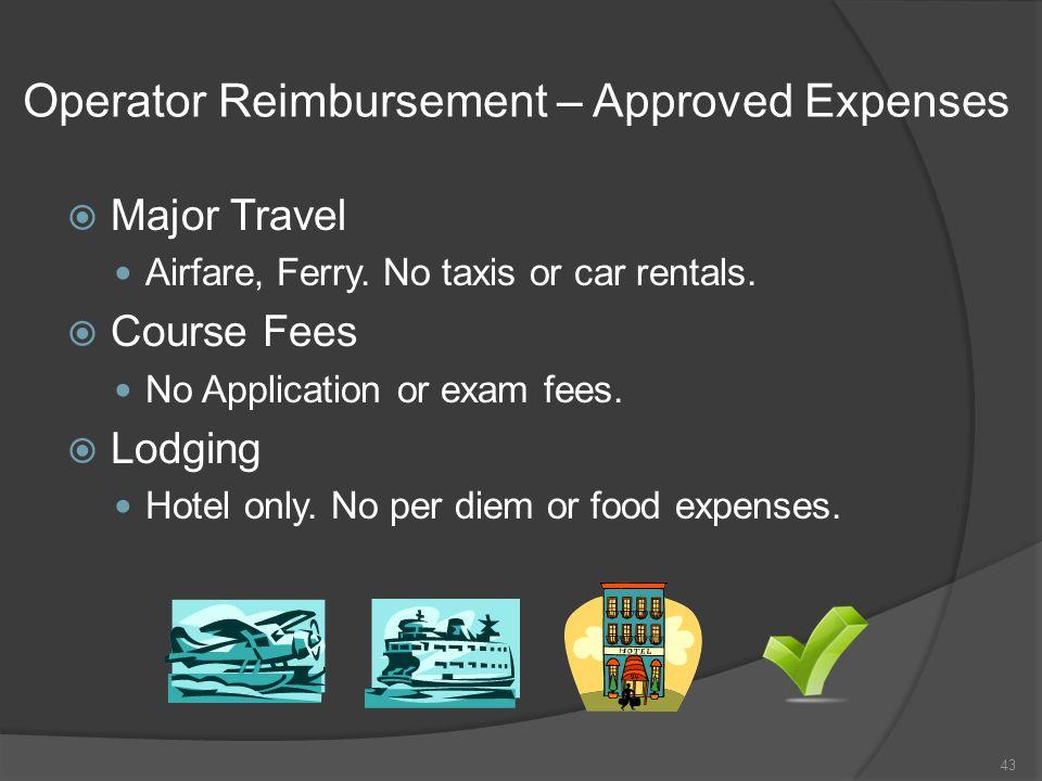 Operator Reimbursement – Approved Expenses