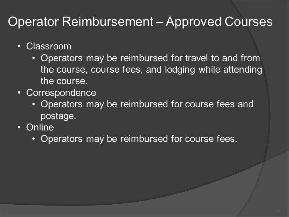 Operator Reimbursement – Approved Courses