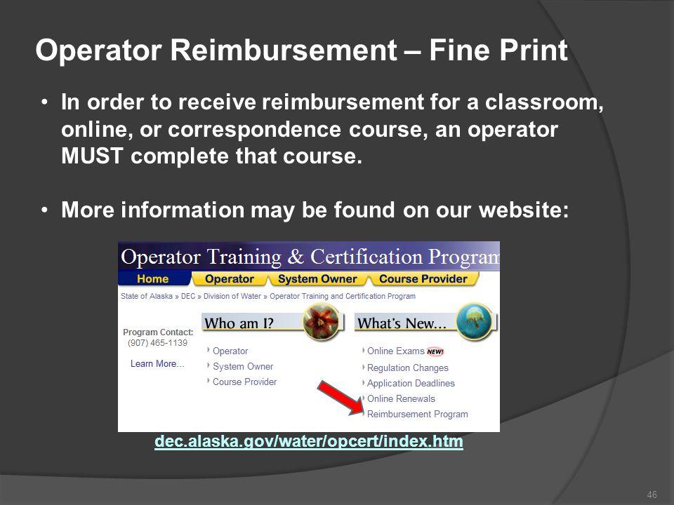Operator Reimbursement – Fine Print
