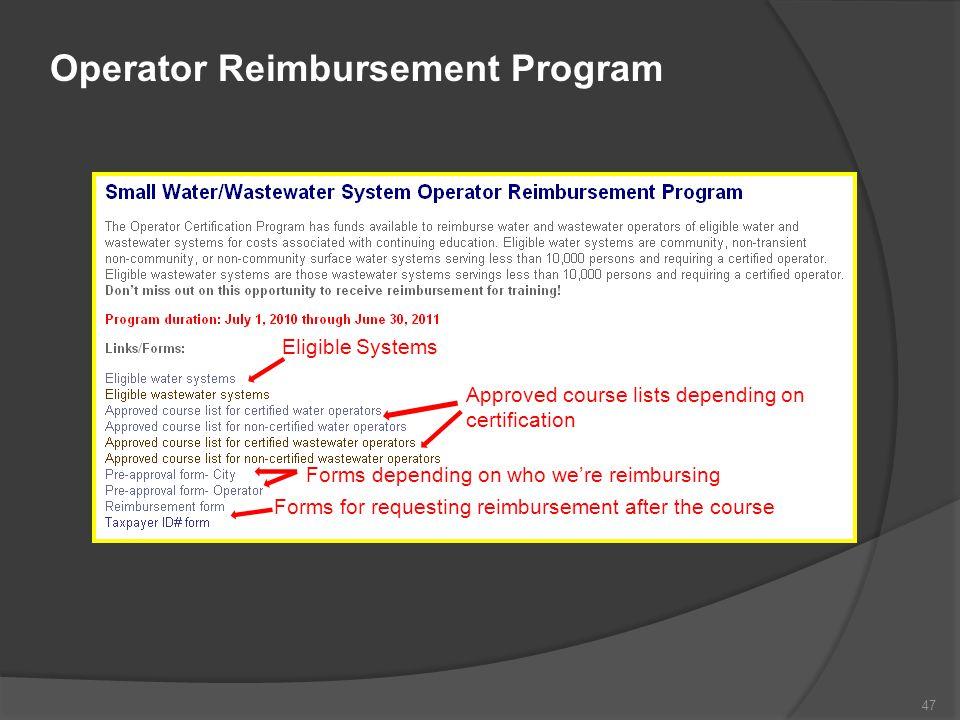 Operator Reimbursement Program