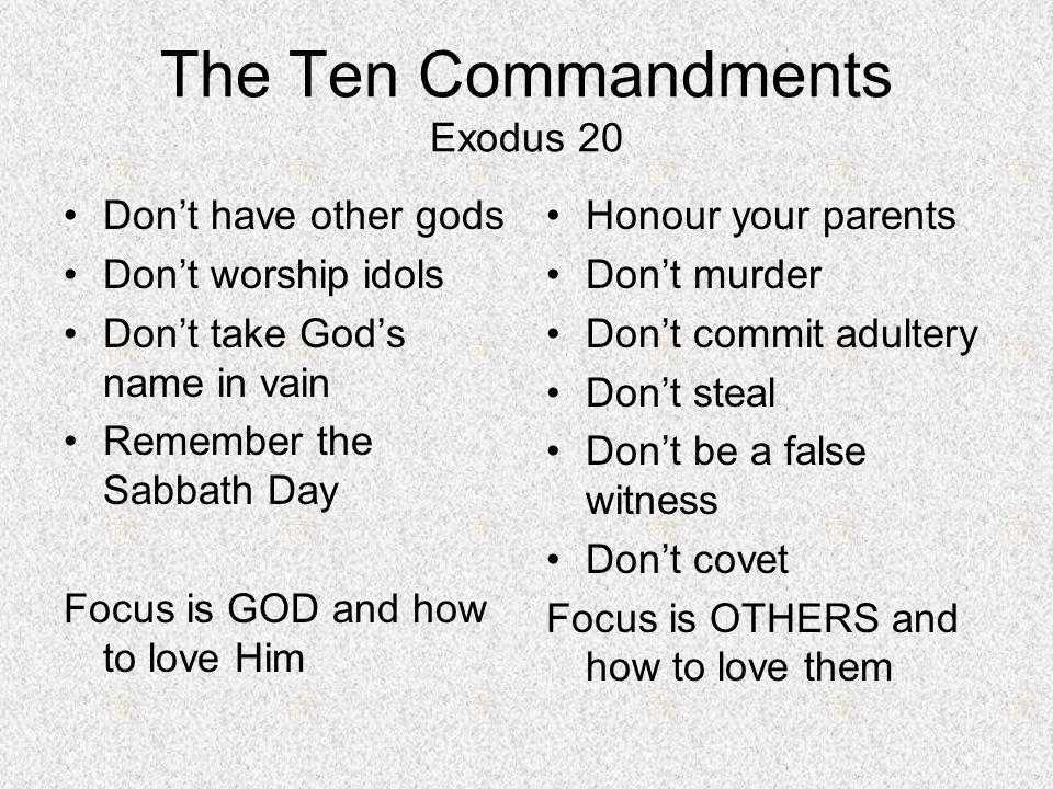 The Ten Commandments Exodus 20