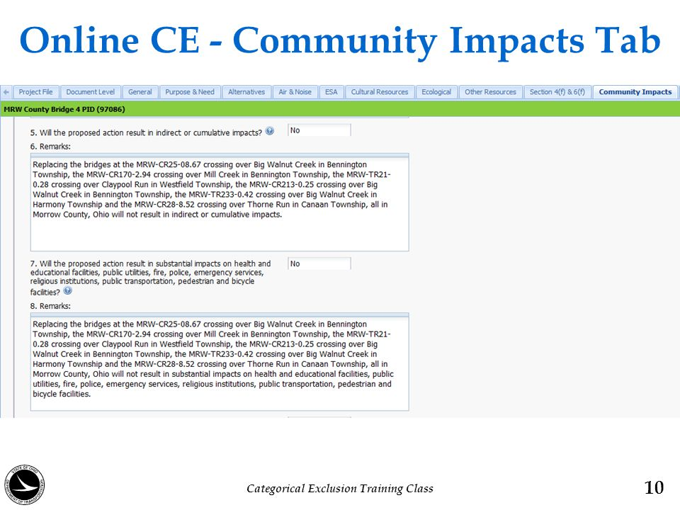 Online CE - Community Impacts Tab