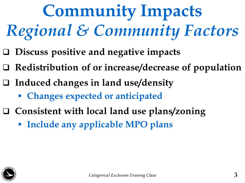Community Impacts Regional & Community Factors
