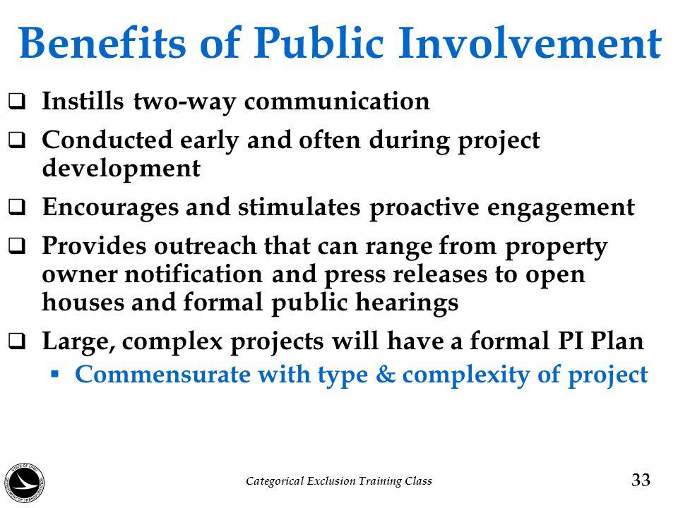 Benefits of Public Involvement