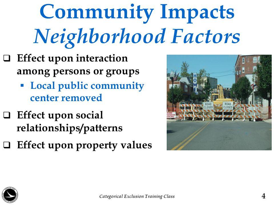 Community Impacts Neighborhood Factors