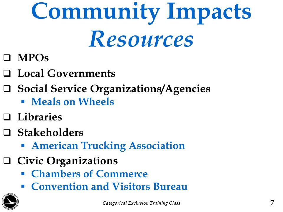 Community Impacts Resources