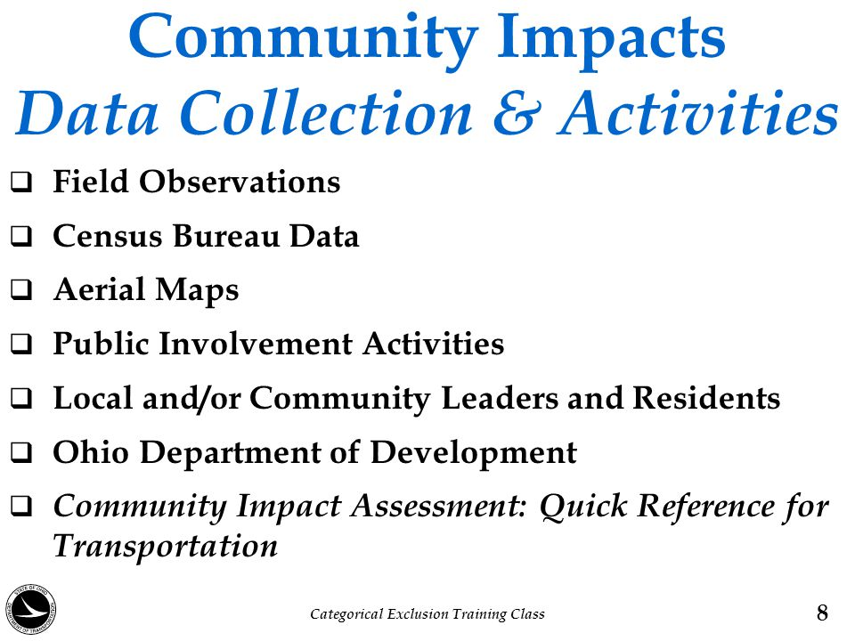 Community Impacts Data Collection & Activities