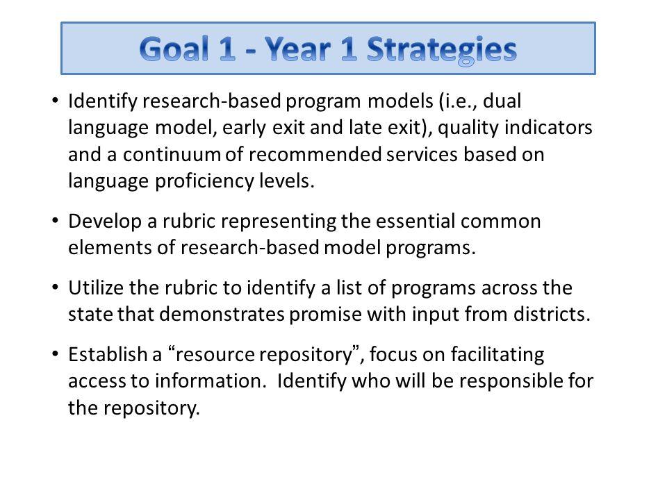 Goal 1 - Year 1 Strategies