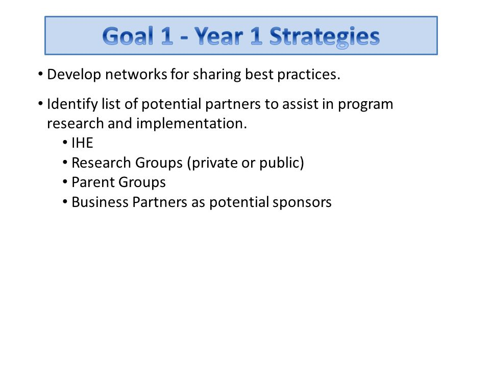 Goal 1 - Year 1 Strategies Develop networks for sharing best practices.