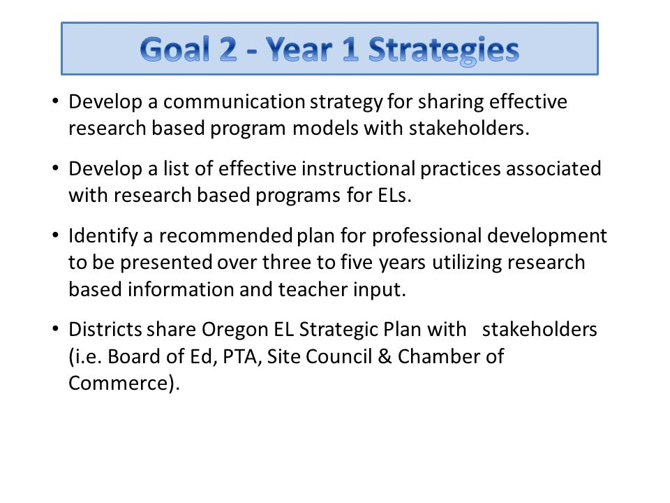 Goal 2 - Year 1 Strategies Develop a communication strategy for sharing effective research based program models with stakeholders.