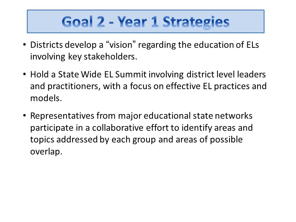 Goal 2 - Year 1 Strategies Districts develop a vision regarding the education of ELs involving key stakeholders.