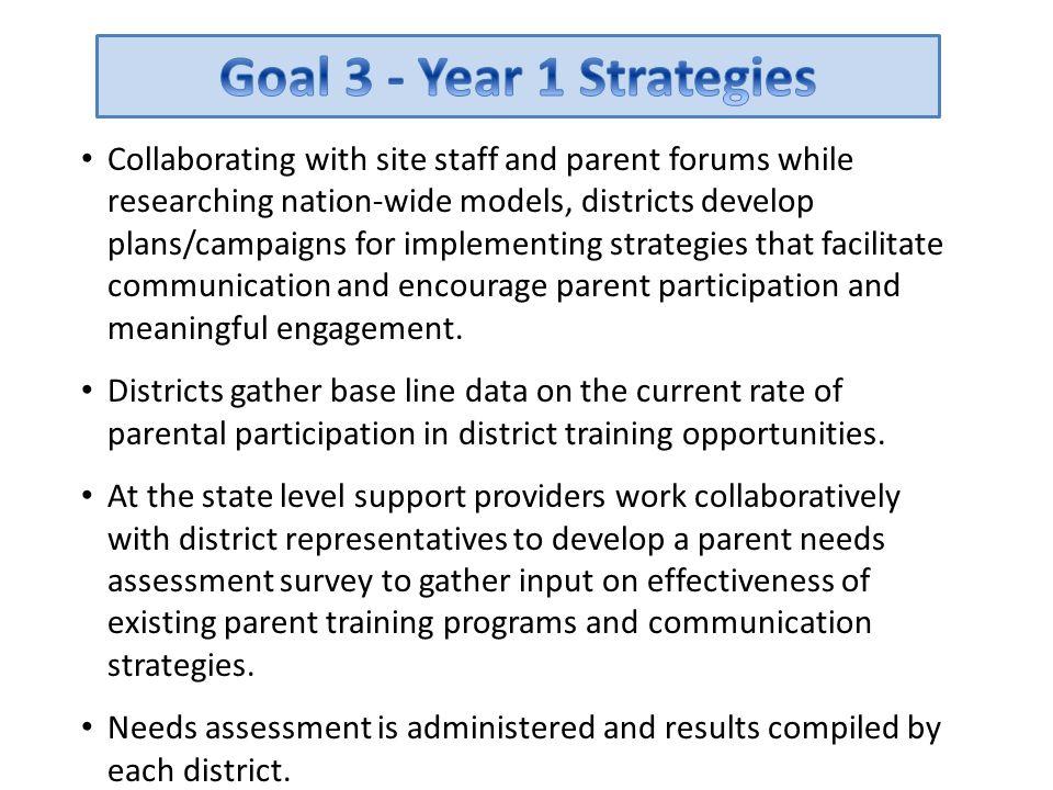 Goal 3 - Year 1 Strategies