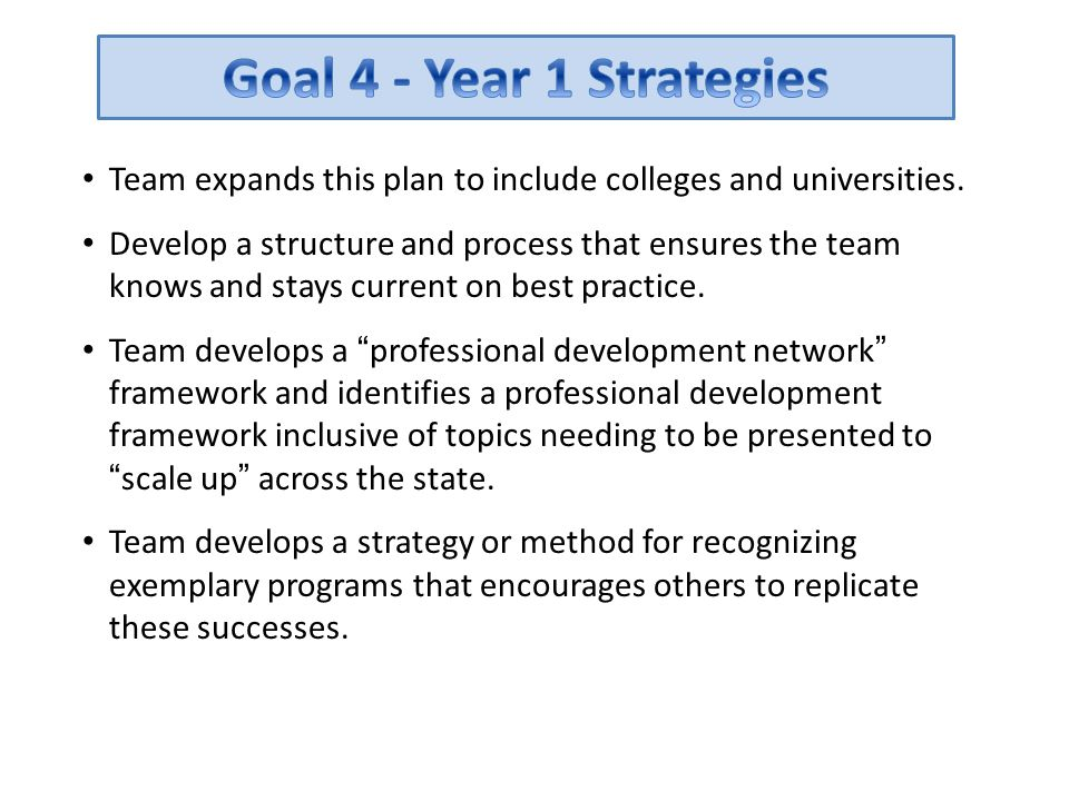 Goal 4 - Year 1 Strategies Team expands this plan to include colleges and universities.