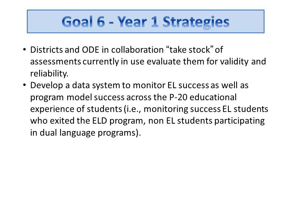 Goal 6 - Year 1 Strategies