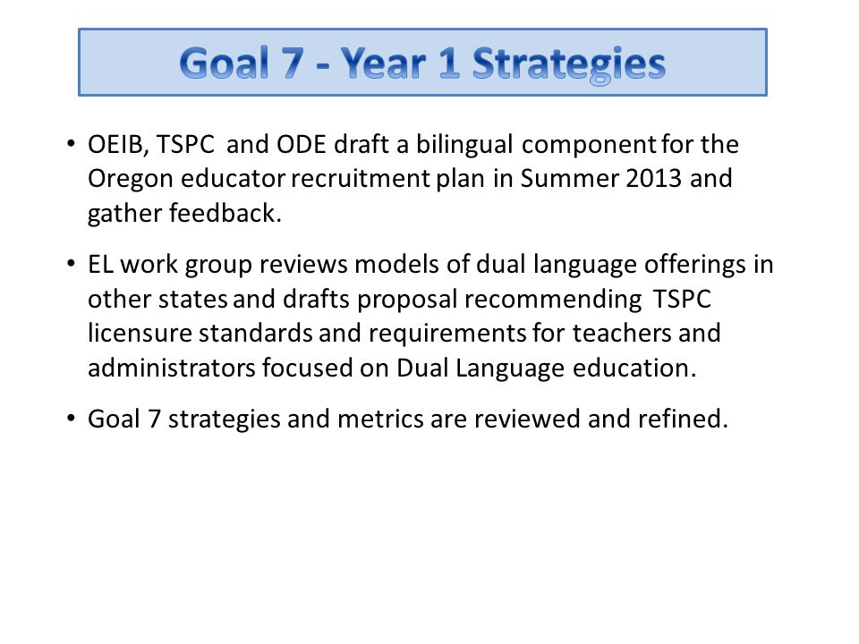 Goal 7 - Year 1 Strategies