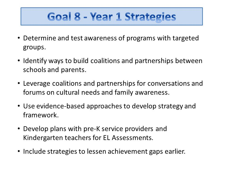 Goal 8 - Year 1 Strategies Determine and test awareness of programs with targeted groups.