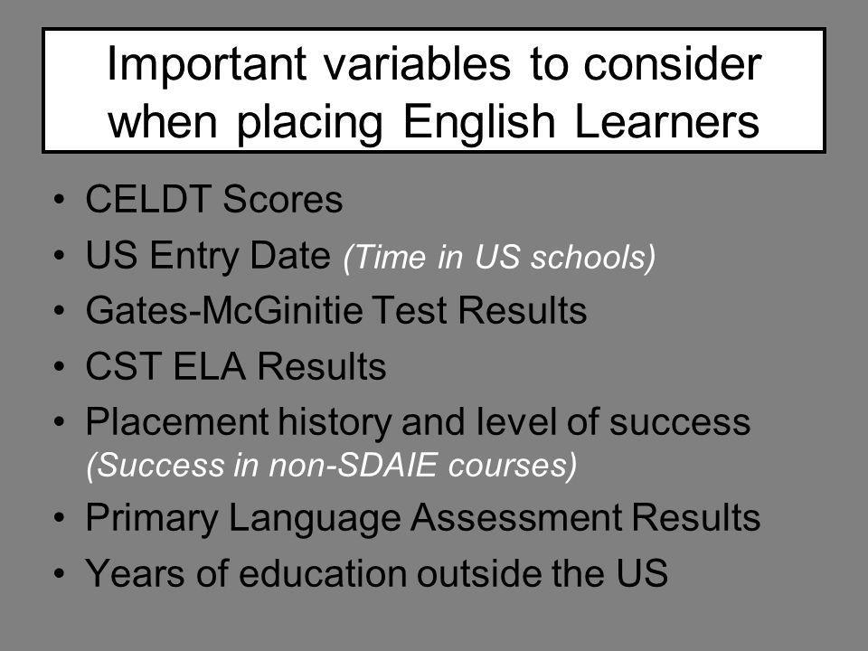 Important variables to consider when placing English Learners