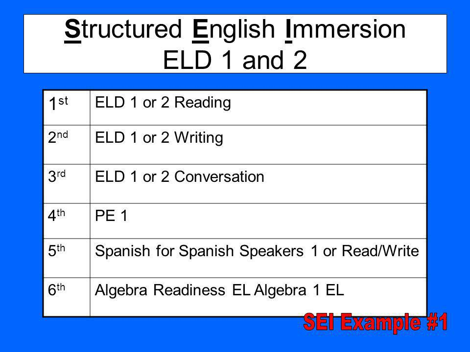Structured English Immersion ELD 1 and 2