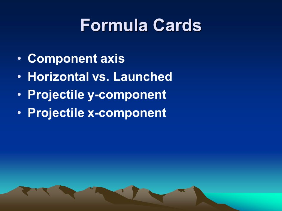 Formula Cards Component axis Horizontal vs. Launched