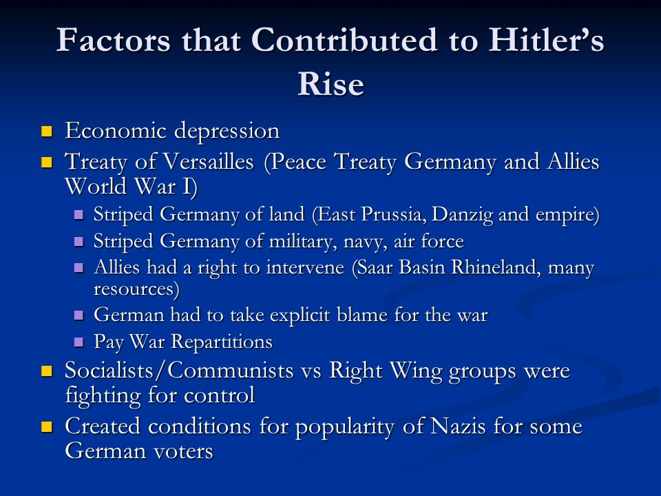 Factors that Contributed to Hitler's Rise