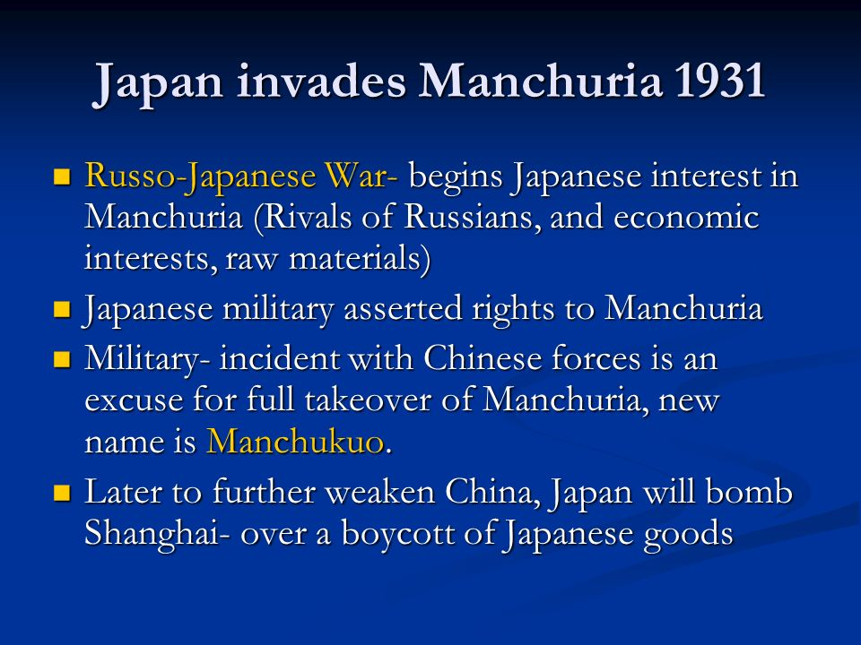 Japan invades Manchuria 1931