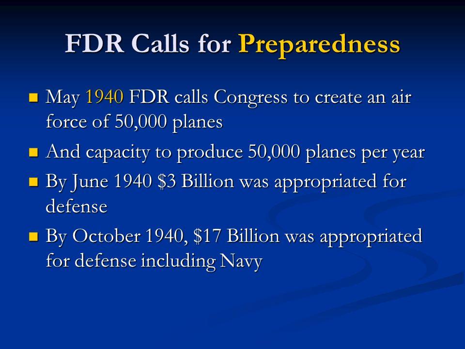 FDR Calls for Preparedness