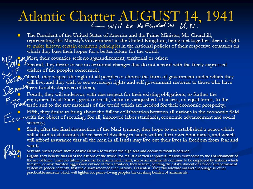 the purpose of the atlantic charter essay Atlantic charter definition: the joint declaration issued by f d roosevelt and winston churchill on aug 14, 1941 | meaning, pronunciation, translations and examples.