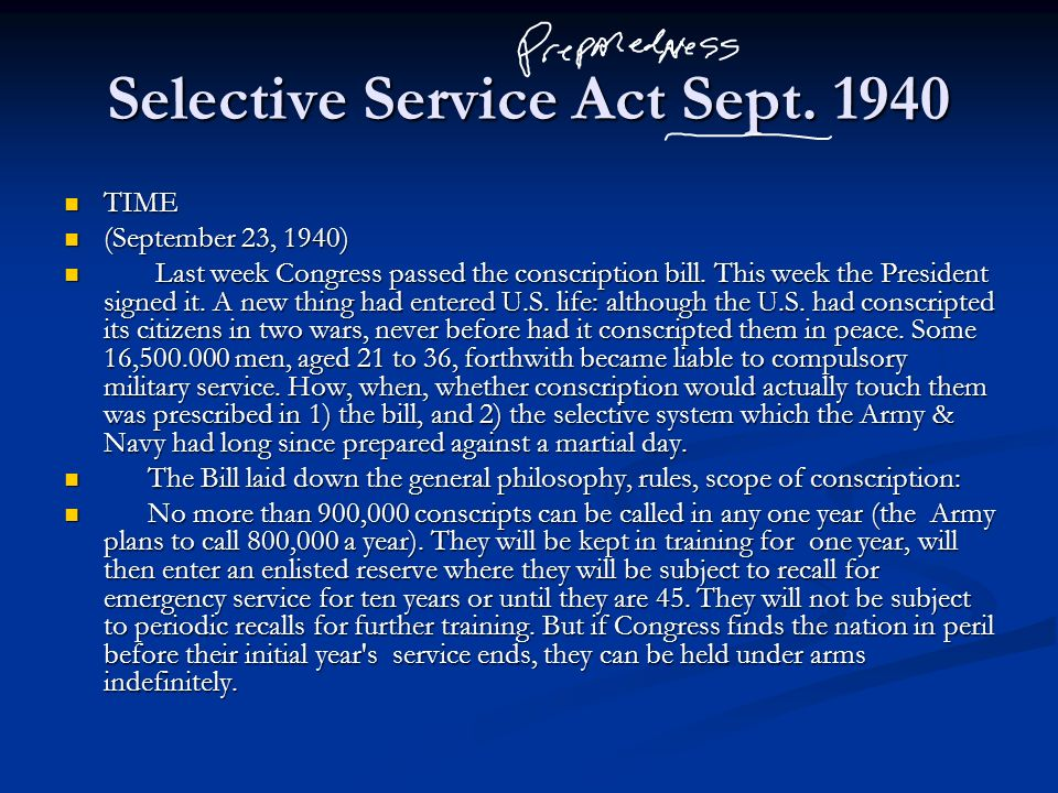 Selective Service Act Sept. 1940