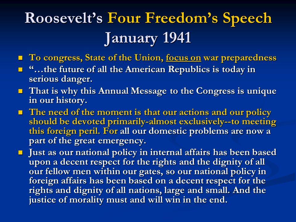 Roosevelt's Four Freedom's Speech January 1941