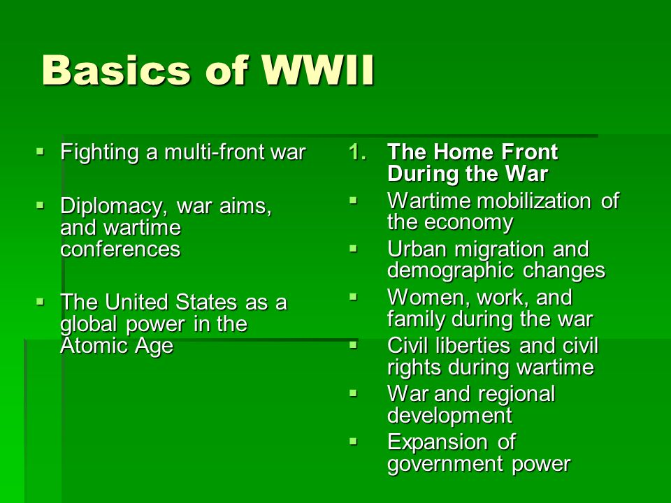Basics of WWII Fighting a multi-front war