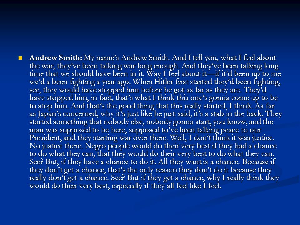 Andrew Smith: My name's Andrew Smith