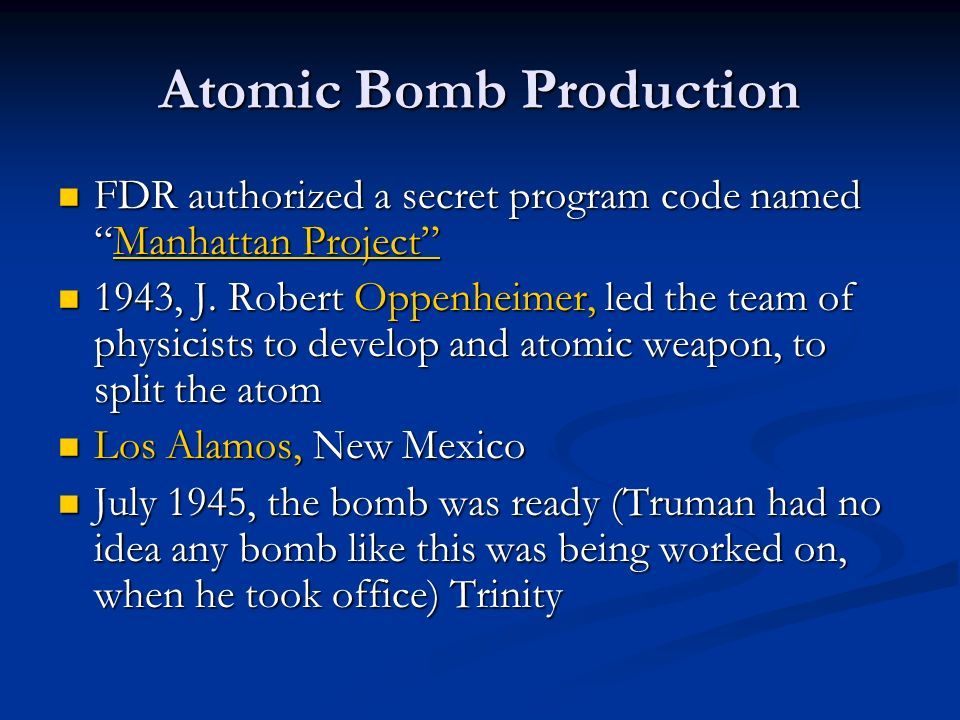 Atomic Bomb Production