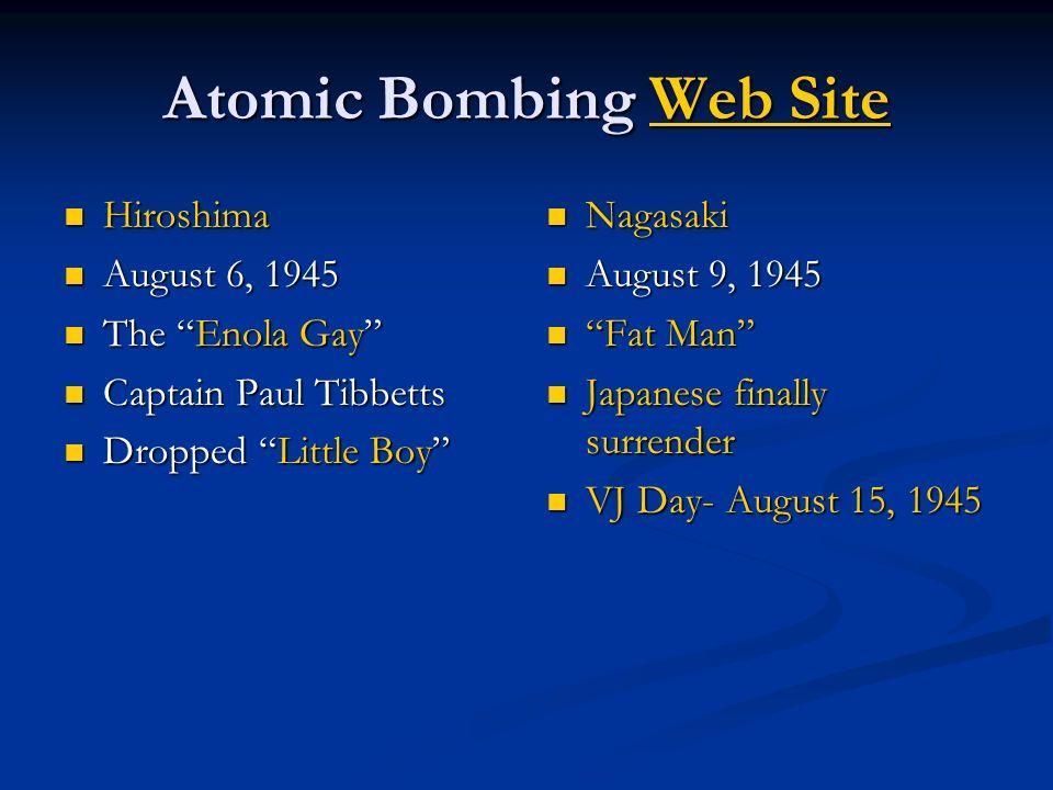 Atomic Bombing Web Site