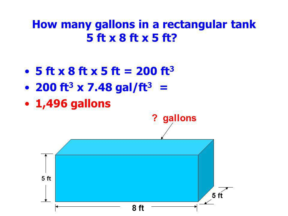 How many gallons in a rectangular tank 5 ft x 8 ft x 5 ft