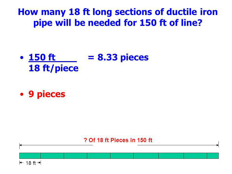 How many 18 ft long sections of ductile iron pipe will be needed for 150 ft of line