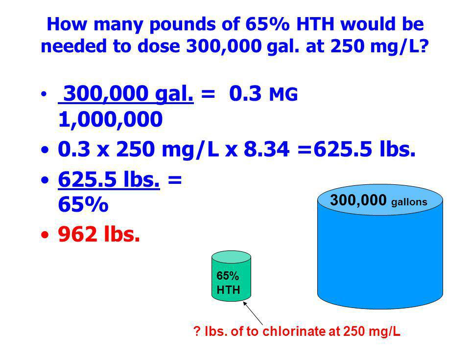 How many pounds of 65% HTH would be needed to dose 300,000 gal