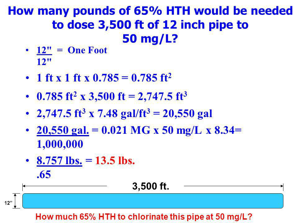 How many pounds of 65% HTH would be needed to dose 3,500 ft of 12 inch pipe to 50 mg/L